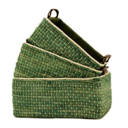 Baskets Woven Maize Storage Bins Set Of 3, Kingwillow. (Green, Rectangular)