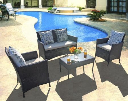 Modern Patio Outdoor Furniture Sets Wicker Small Cheap Balcony Dining  Tableu0026Chair Sets 4 Pcs Rattan Set