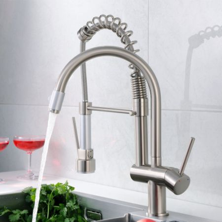 FLG Commercial Style Spring Single Handle Pull Down Kitchen Faucet With  Sprayer, Pre Rinse