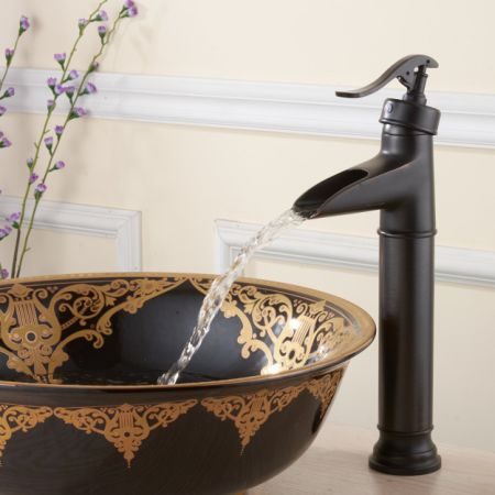 FLG Tall Single Handle Bathroom Waterfall Vessel Sink Faucet Oil Rubbed  Bronze