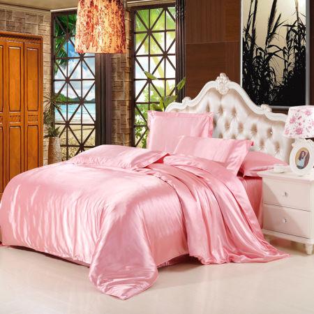 4pcs Silk Satin Duvet Cover Set With Flat Sheet Queen Size Peach