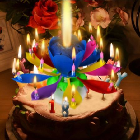 3 Pack Birthday Candles Multi Color Musical Candle Lotus Rotating Flow Play Music