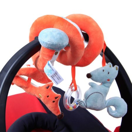 Labebe Car Seat Toy Hanging For Baby With Blue Squirrel Orange Fox