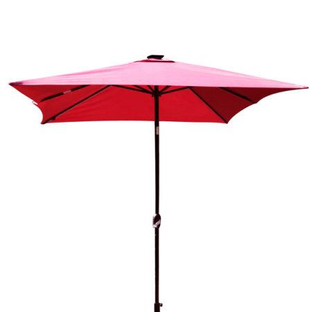 Kinbor Rectangular Outdoor Table Aluminum Solar Powered LED Lighted Patio  Umbrella Window Awning Garden Furniture,