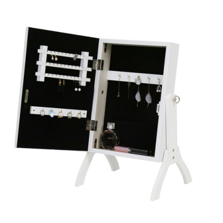 Merveilleux Kinbor White Mirrored Jewelry Cabinet Armoire With Stand Mirror Rings,  Necklaces, Bracelets
