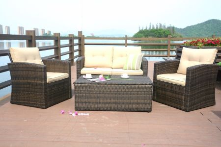 Direct Wicker 4 Piece Outdoor Rattan Sectional Sofa Set With Storage