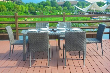 Direct Wicker 7 Piece Outdoor Dining Set Patio Table And Chairs Furniture Brown
