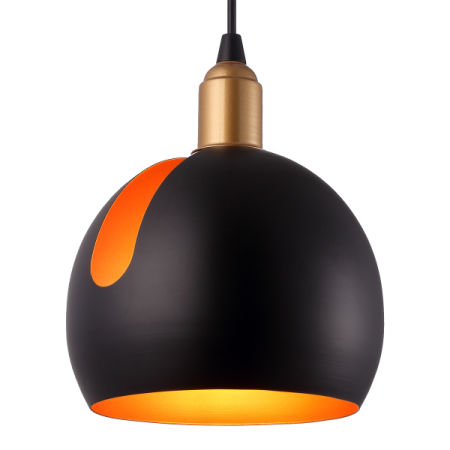 Homiforce Modern Style 1 Light Black Globe Pendant With Iron Shade In Vintage