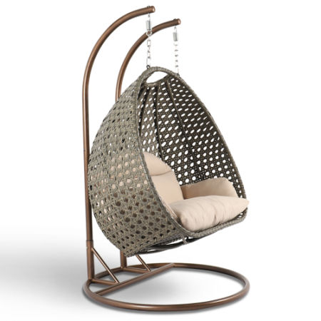 2018 Stylish And Cosy Design Double Seat Wicker Hanging Swing Chair With  Cushion