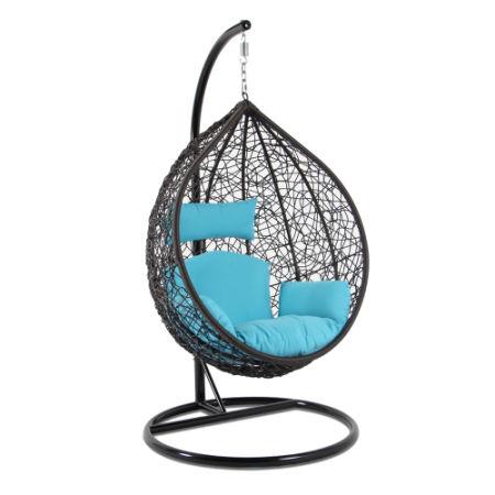 Garden Outdoor Rattan Patio Hanging Swing Chair Egg Seat Blue Cushion