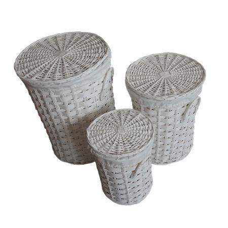 SANJET, Willow Laundry Storage Baskets With Lid Hamper Handmade Woven  Wickeru0026Cattail Round Closet Organizer (