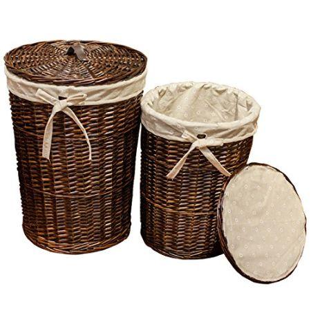 SANJET JL 012 Laundry Storage Baskets With Lid Hamper Handmade Woven  Wickeru0026cattail Round Closet Organizer