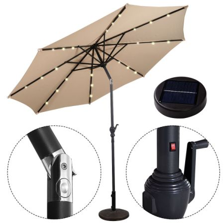 10ft Outdoor Patio Solar Umbrella With Crank And LED Lights