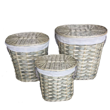 SANJET, Willow Laundry Storage Baskets With Lid Hamper Handmade Woven  Wickeru0026Cattail Oval Closet Organizer (
