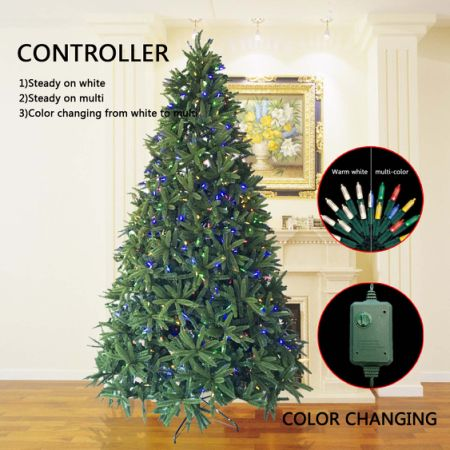 morning star 9 foot dunhill fir tree christmas tree with 1000 led lights 3774 tips