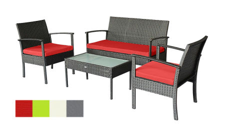 Outdoor Furniture Set clearance Patio Chairs Wicker Chair Cheap Small Loveseat and Chairs with Extra Cushion