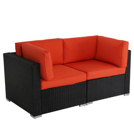 Kinbor 2pcs Outdoor Patio Furniture Sectional Pe Wicker Rattan Sofa Set Orange