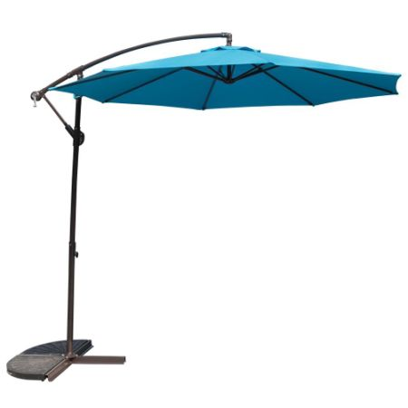 10 Feet Patio Umbrella Aluminum Table Market Hanging Umbrellas, 8 Steel  Ribs, Cross Base
