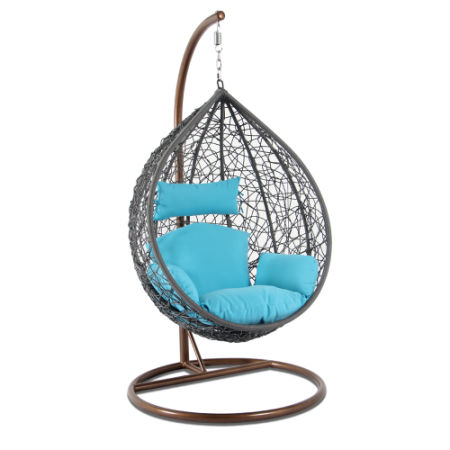 2017 Most Popular Patio Leisure Furniture Rattan Swing Chair Blue Cushion