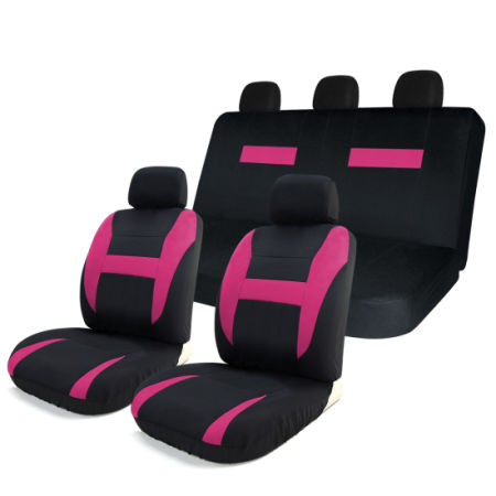 8pcs Car Seat Covers Set Black Pink Universal Airbag Compatible Storage Bag