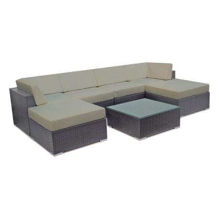 Attraktiv Patio Wicker Sofa Set Outdoor Sectional Furniture Lounge Sofa W/ Cushion U0026  Table