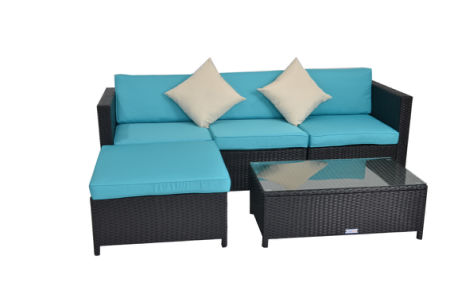 Outime 5pcs Black Rattan Wicker Outdoor Sectional Couch Sofa Set Garden Lawn Patio Furniture With Turquoise