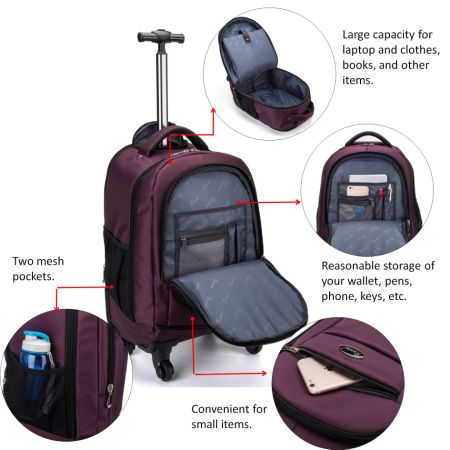 b773487a9 ... for racini nylon waterproof rolling backpack freewheel travel ...