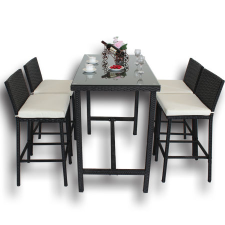Patio Bar Set Furniture Dining Set Rattan Table Chairs PE Wicker Bar Set  Stools Table Set