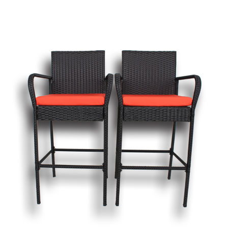 Patio Furniture Rattan Barstool Set Pool Furniture Black Wicker High Chair  With Orange Cushions Set Of