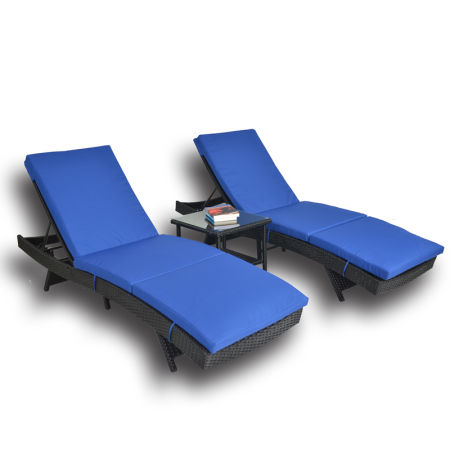 Patio Furniture Pe Black Rattan Recliners Garden Chaise Lounge Outdoor Lounger Cushioned 3pcs Royal