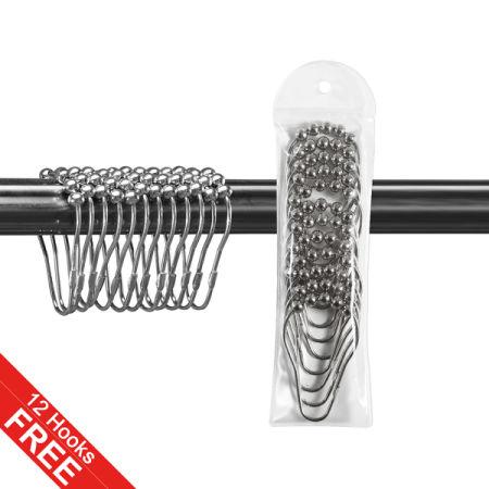 Shower Curtain Liner Clear With 12 Hooks Mold Mildew Resistant Antibacterial Rustproof Grommets Eco