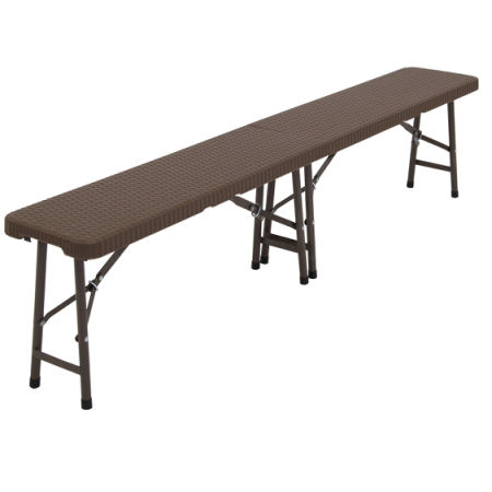 Captivating Kinbor 6u0027 Portable Plastic In/Outdoor Picnic Party Camping Dining Folding  Bench Chair Brown