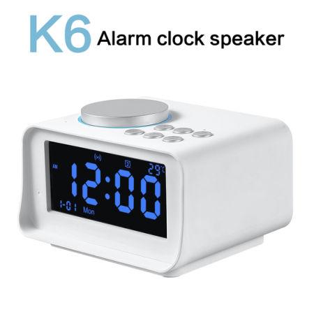 CYBORIS Digital Alarm Clock Radio Bluetooth Speaker With TF Card Slot/  Thermometer/ Snooze LCD