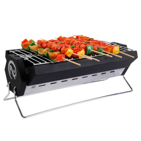 WolfWise Portable Foldable Charcoal BBQ Grill Stainless Steel With Carrying  Bag 15.7 X 7.9 X 5.9