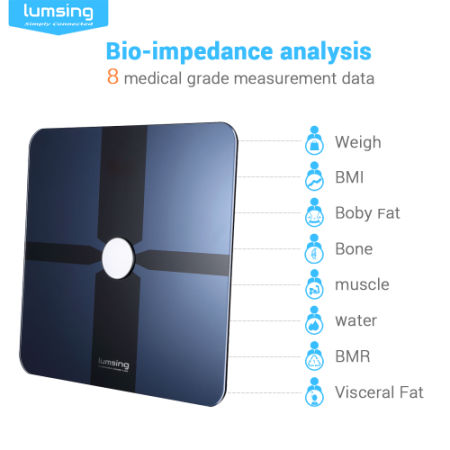 Bluetooth Body Fat Scale, Lumsing Smart Body Fat Monitor 400lb, Measures Body Weight, Body Water, Body Fat, BMI, BMR(KCAL), Muscle Mass, Bone Mass and Visceral Fat