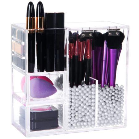 shop for lifewit brush holder lipstick case drawer makeup acrylic organizer display lid at. Black Bedroom Furniture Sets. Home Design Ideas