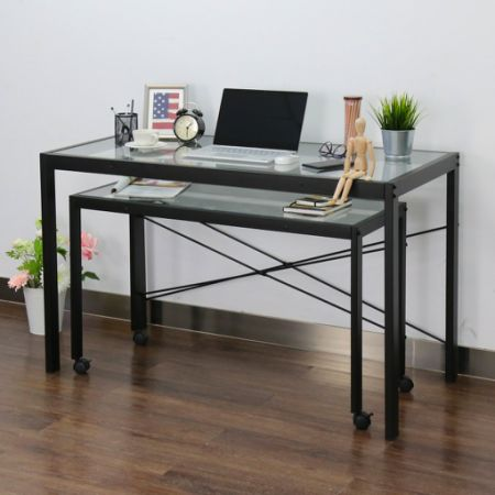 kinbor home office computer table desk workstation with glass top and metal legs w office computer tables i61 tables