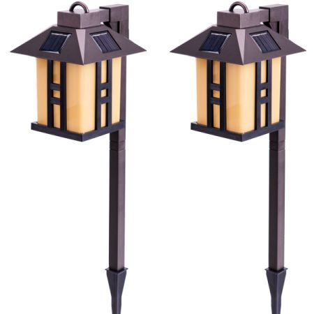 GIGALUMI Solar Powered Path Lights, Solar Garden Outdoor Lights, Landscape Lighting for Lawn/Patio/Yard/Pathway/Walkway/Driveway (2 Packs)