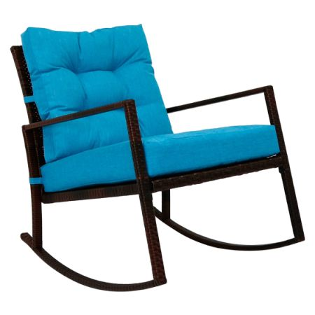 Kinbor Rattan Rocker Chair Outdoor Garden Rocking Chair Wicker Lounge  W/Blue Cushion