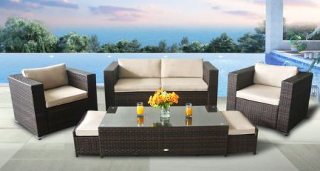 Outdoor Conversation Set Brown Rattan Patio Furniture 6PCS Sectional Sofa  Set Cream Waterproof Cushioned W/