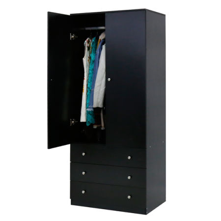 Kinbor 2-Door Wardrobe Cabinet Armoire Storage with Three Drawers Black  sc 1 st  Crov.com & Shop for Kinbor 2-Door Wardrobe Cabinet Armoire Storage with Three ...