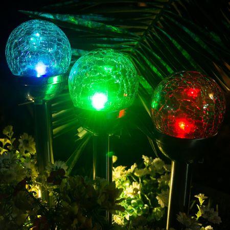 GIGALUMI Solar Lights Outdoor, Cracked Glass Ball Dual LED Garden Lights,  Landscape/Pathway