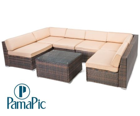 Pamapic 7PCS Outdoor Patio Furniture Set Rattan Wicker Sofa Sectional  Garden Rattan Sofa Cushioned Seat With