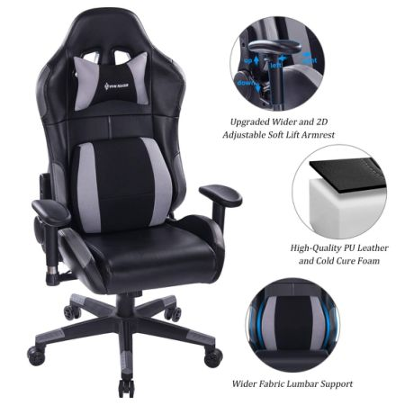 VON RACER Multifunctional Gaming Chair   Elegant Reclining Computer Desk  Chair With Soft Memory Foam Seat