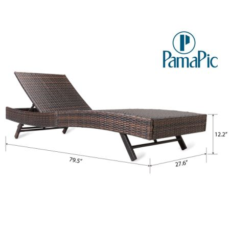 3 PCS Outdoor Patio Chaise Lounge Chair Set, PamaPic PE Rattan Wicker  Adjustable Reclining Furniture