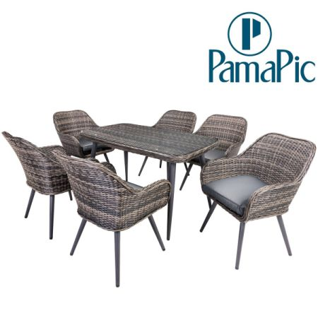 7 PCS Rattan Furniture Set, PamaPic Outdoor Wicker Sectional Seat Cushioned  Sofa. Indoor Dining - Shop For 7 PCS Rattan Furniture Set, PamaPic Outdoor Wicker