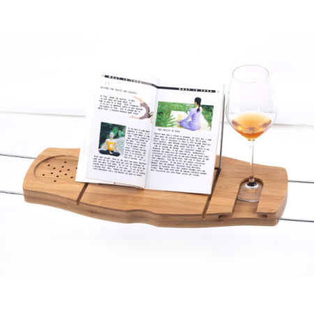 Musiclily Bamboo Bathtub Caddy Handcrafted Shower Bath Tub Tray Organizer  With Extending Sides And Reading Rack
