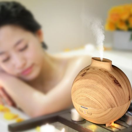 [Free Shipping] Aromacare 600mL Wood Grian Ultrasonic Aroma Diffuser Aromatherapy Humidifier