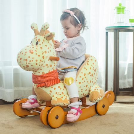shop for labebe baby wooden rocking horse 2 in 1 yellow giraffe kids rocking ride on toys for 1. Black Bedroom Furniture Sets. Home Design Ideas