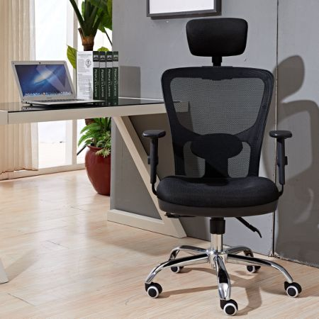 High Back Mesh Office Chair with Adjustable Headrest and Lumber Support, Black